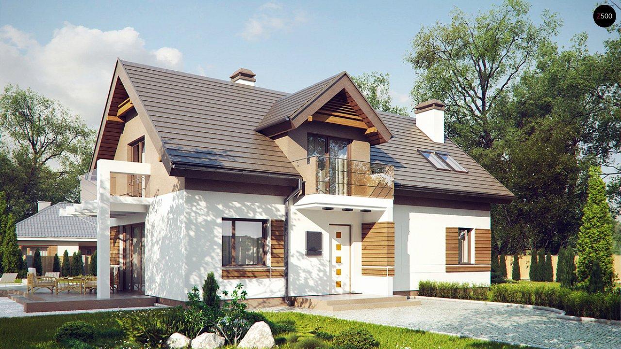 Проект функционального уютного дома с мансардными окнами и оригинальной отделкой фасадов. 1