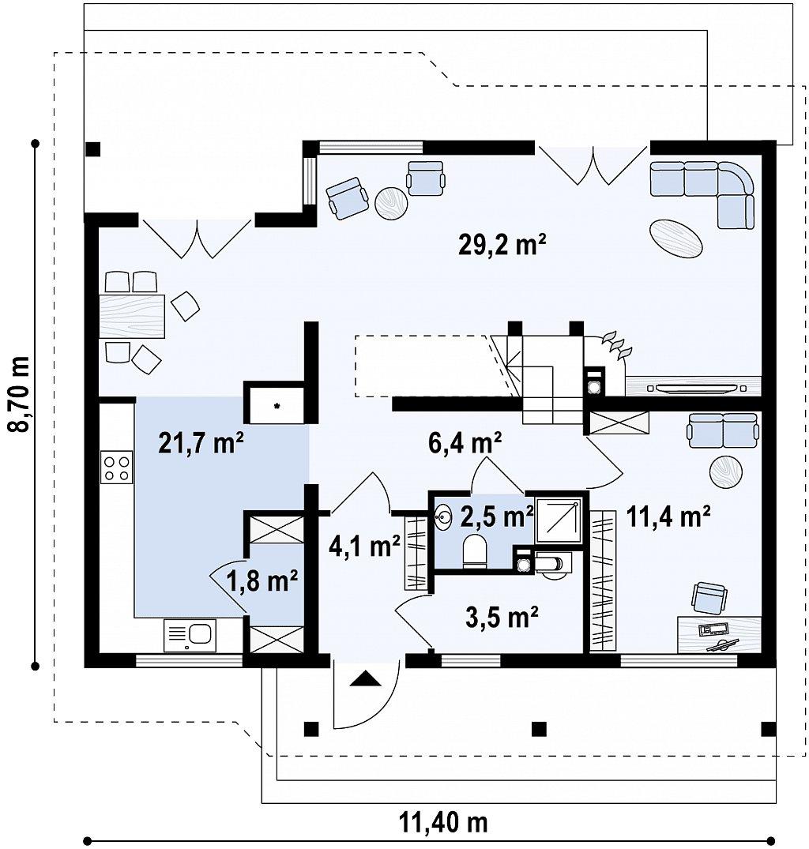Дом с мансардой с двускатной крышей и комнатой на первом этаже план помещений 1