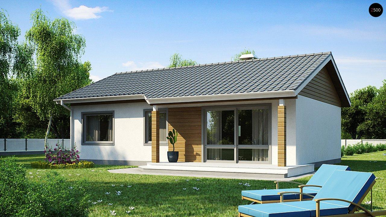 Компактный дом с двускатной крышей — выгодный, функциональный и практичный. 1