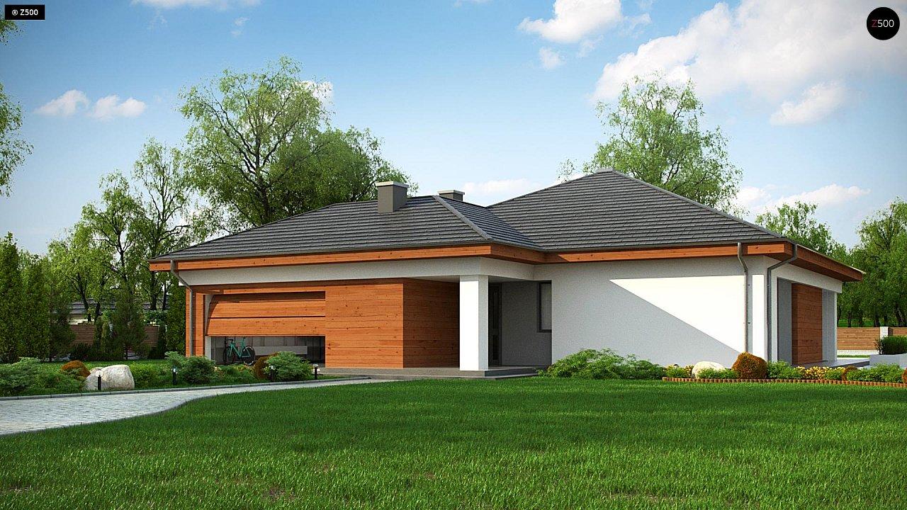 Проект комфортного одноэтажного дома с гаражом для двух авто. 1