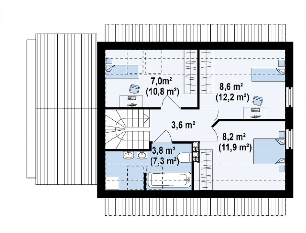 Компактный дом с гаражом для одной машины, с большими окнами в гостиной. план помещений 2