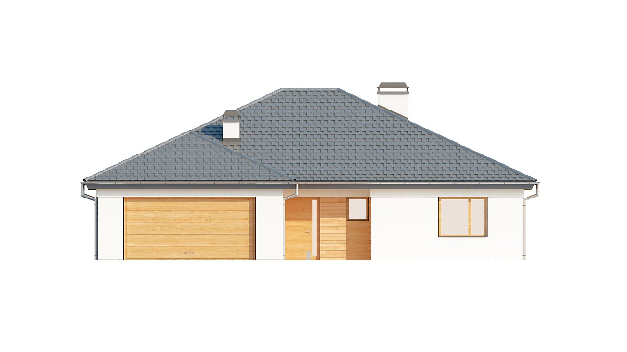 Комфортный одноэтажный дом с выступающим фронтальным гаражом для двух машин. 17
