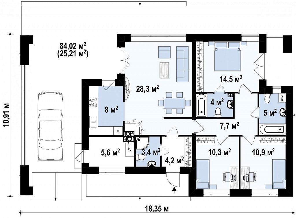Современный одноэтажный дом хай-тек с навесом для автомобиля план помещений 1