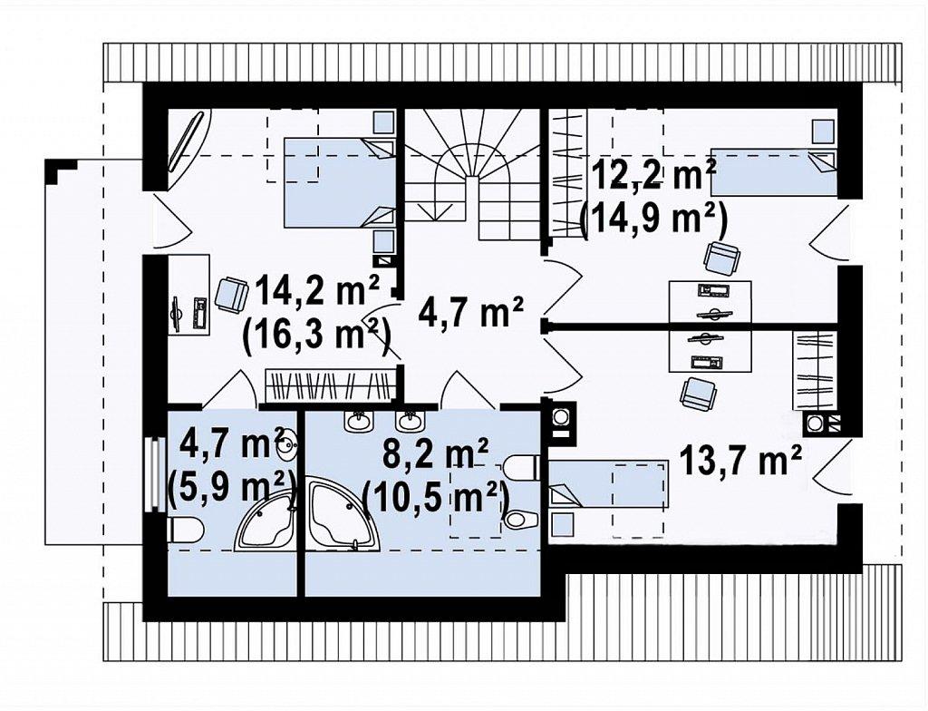 Вариант мансардного дома Z149 без гаража план помещений 2