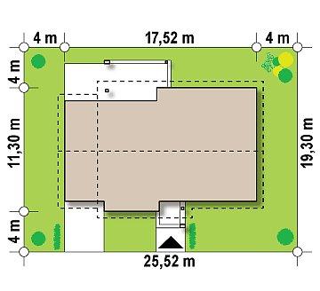 Проект одноэтажного дома с двускатной кровлей, с тремя спальнями и гаражом. план помещений 1