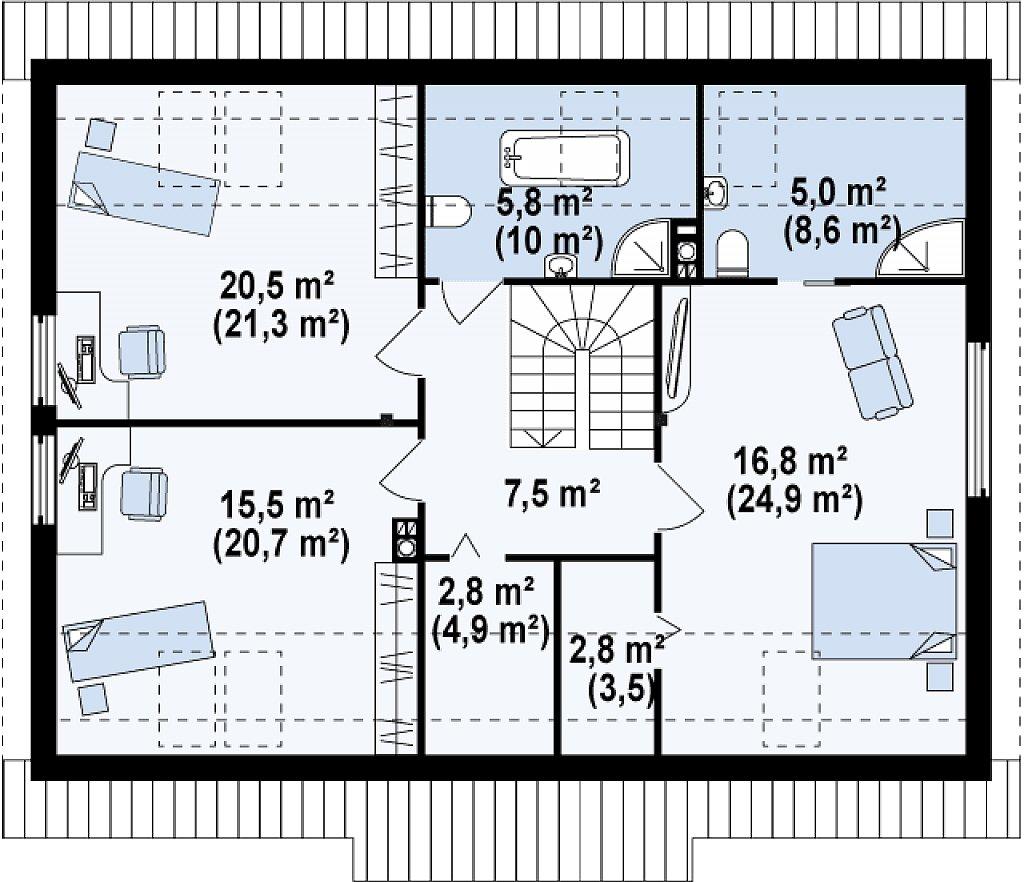 Проект традиционного дома с мансардой, со встроенным гаражом. план помещений 2