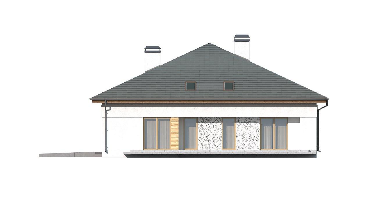 Проект просторного дома с многоскатной крышей. 9