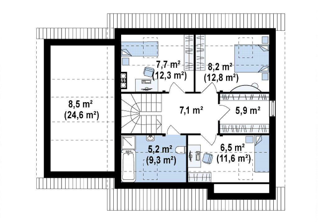 Проект практичного дома с эркером и гаражом на одну машину. план помещений 2