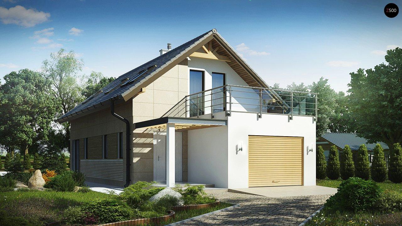 Дом простой формы с двускатной кровлей, с террасой над гаражом, также для узкого участка. - фото 1
