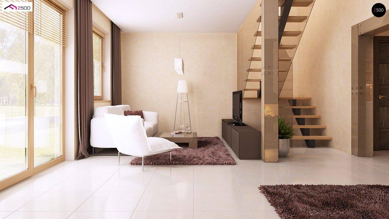Компактный дом в традиционном стиле с двускатной крышей и красивыми мансардными окнами. - фото 4