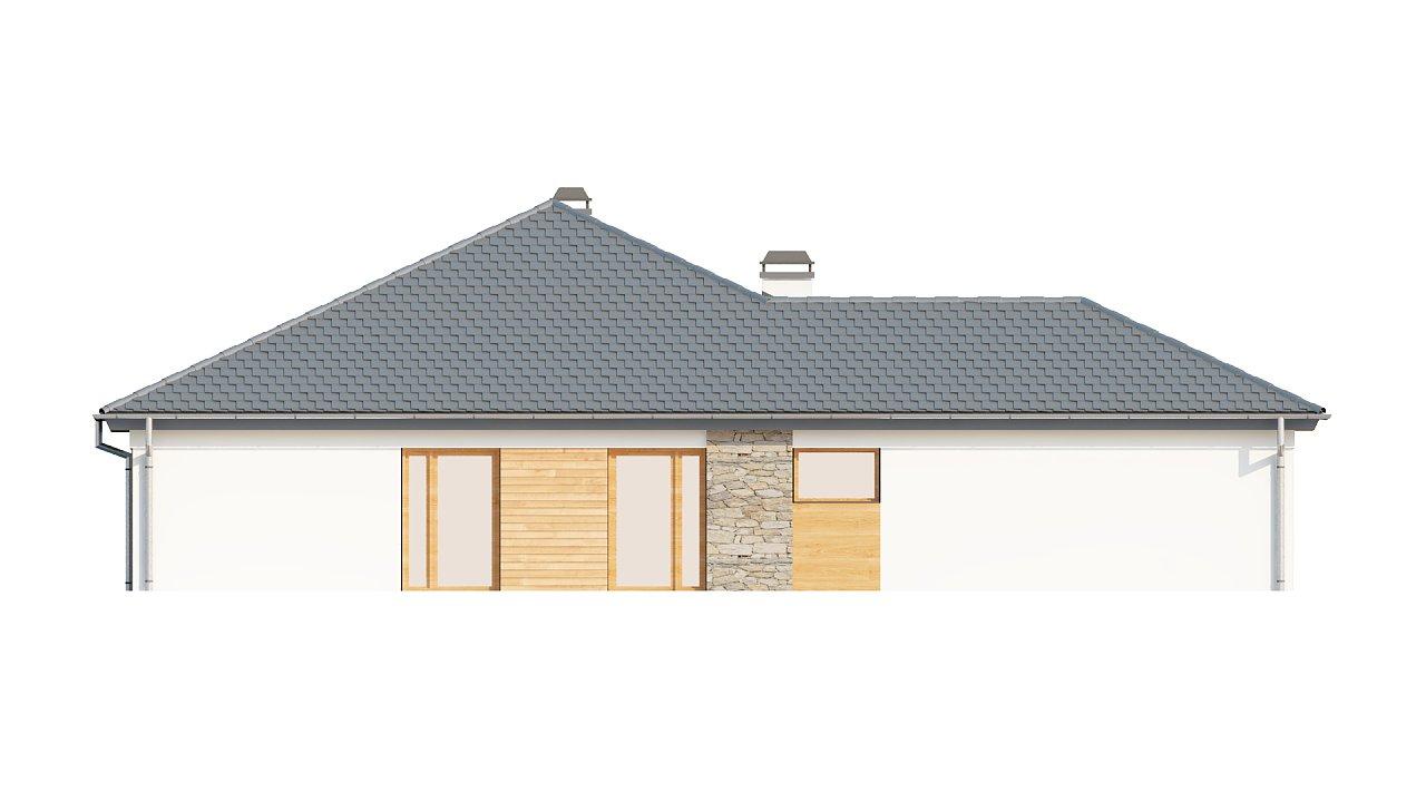 Комфортный одноэтажный дом с выступающим фронтальным гаражом для двух машин. 16