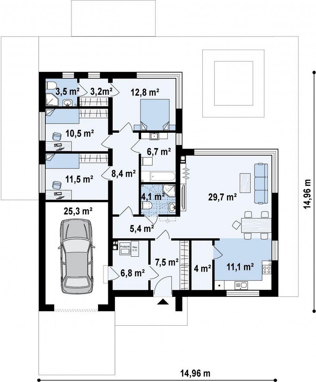 Проект одноэтажного дома Z390 с гаражом на 1 машину и красивым белым фасадом план помещений 1