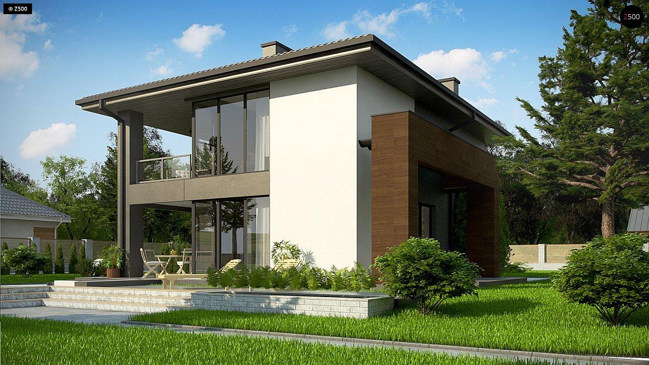 Уменьшенная версия проекта z156 с гаражем и стильным фасадом 3