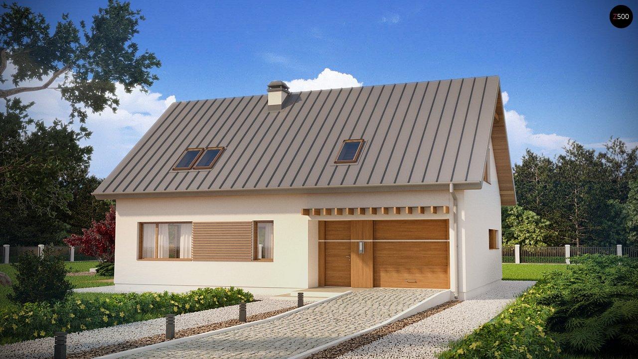 Аккуратный дом простой традиционной формы с гаражом и дополнительной спальней на первом этаже. 1