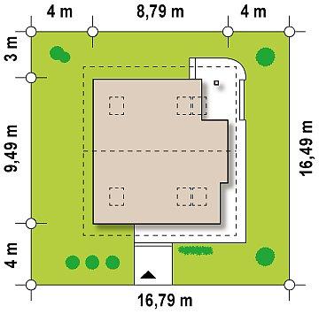 Проект двухэтажного дома с большой площадью остекления. план помещений 1