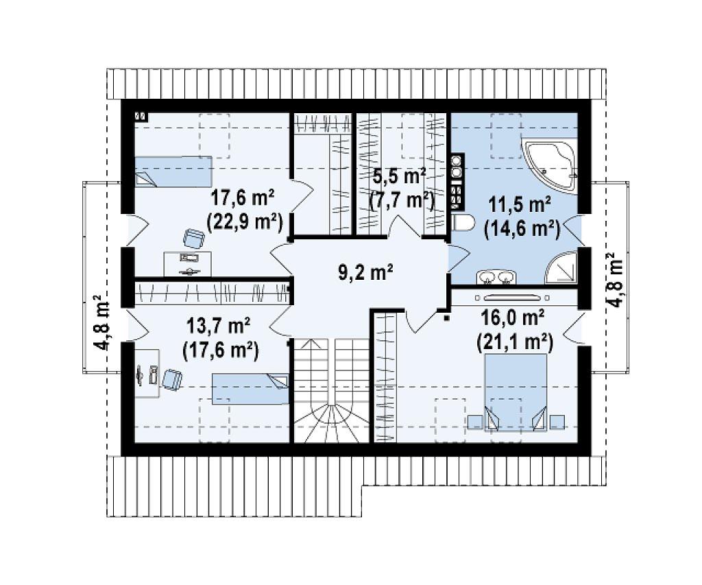 Практичный дом с мансардой, встроенным гаражом и дополнительной спальней на первом этаже. план помещений 2