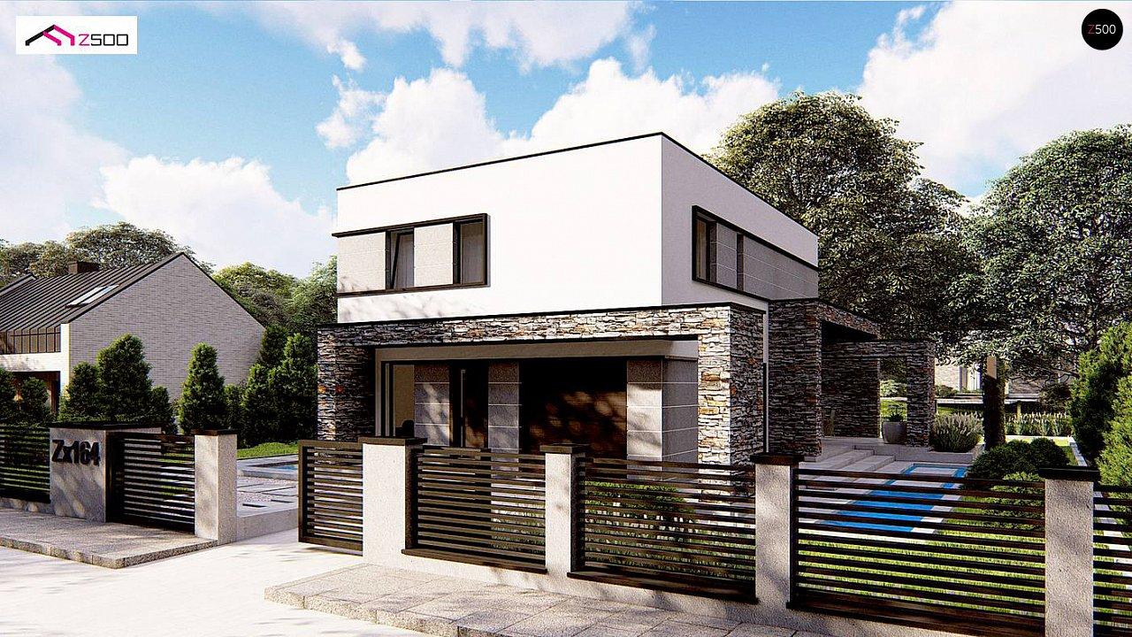 Проект двухэтажного просторного дома с плоской кровлей и панорамным остеклением. 4