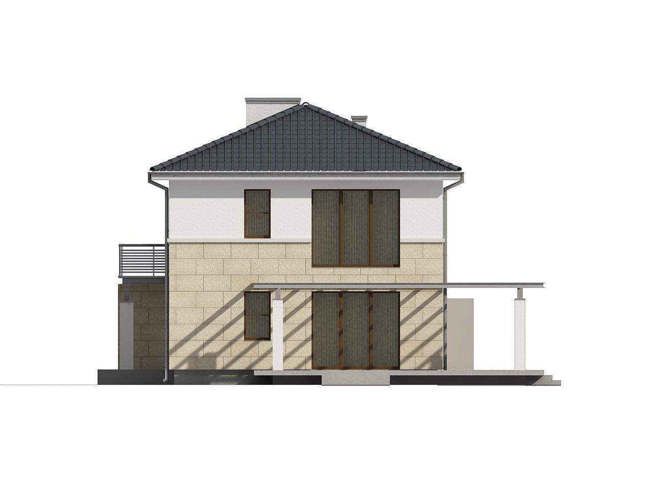 Современный двухэтажный дом простой формы с террасой на втором этаже. - фото 5