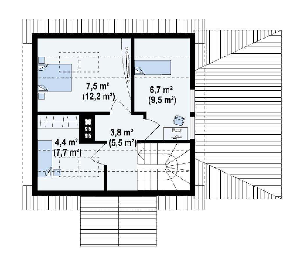 Проект небольшого дома с мансардой, с крытой боковой террасой. план помещений 2