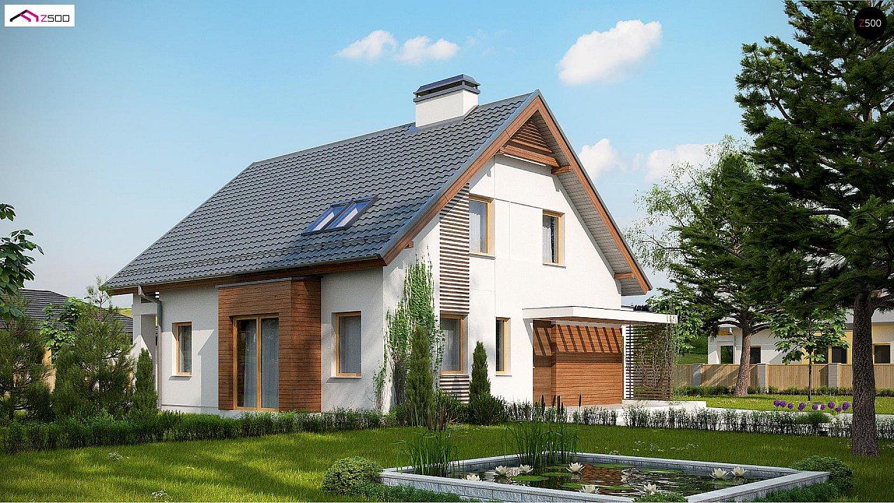 Проект мансардного дома в классическом стиле с гаражом на одно авто. 2