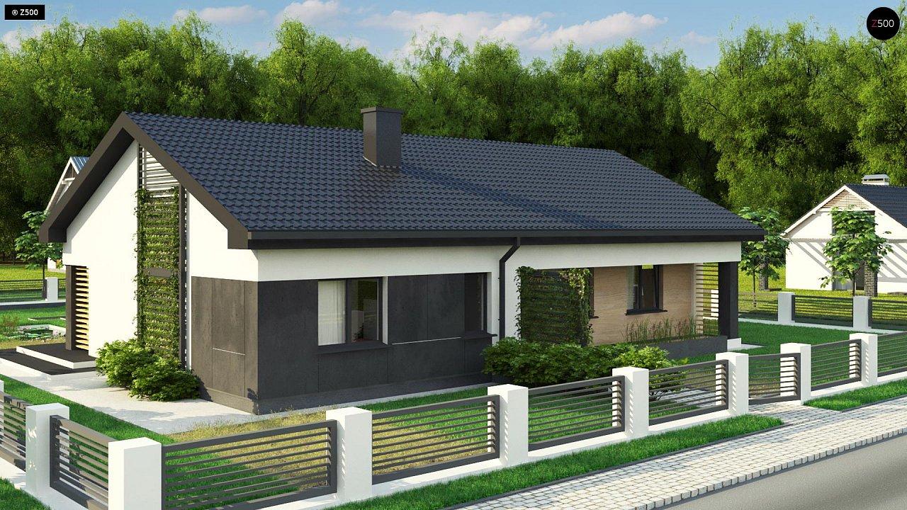 Стильный одноэтажный дом с двускатной кровлей и грамотной планировкой 2