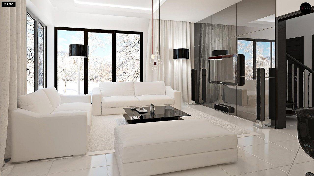 Проект просторного двухэтажного дома для симметричной застройки с террасой над гаражом. 3