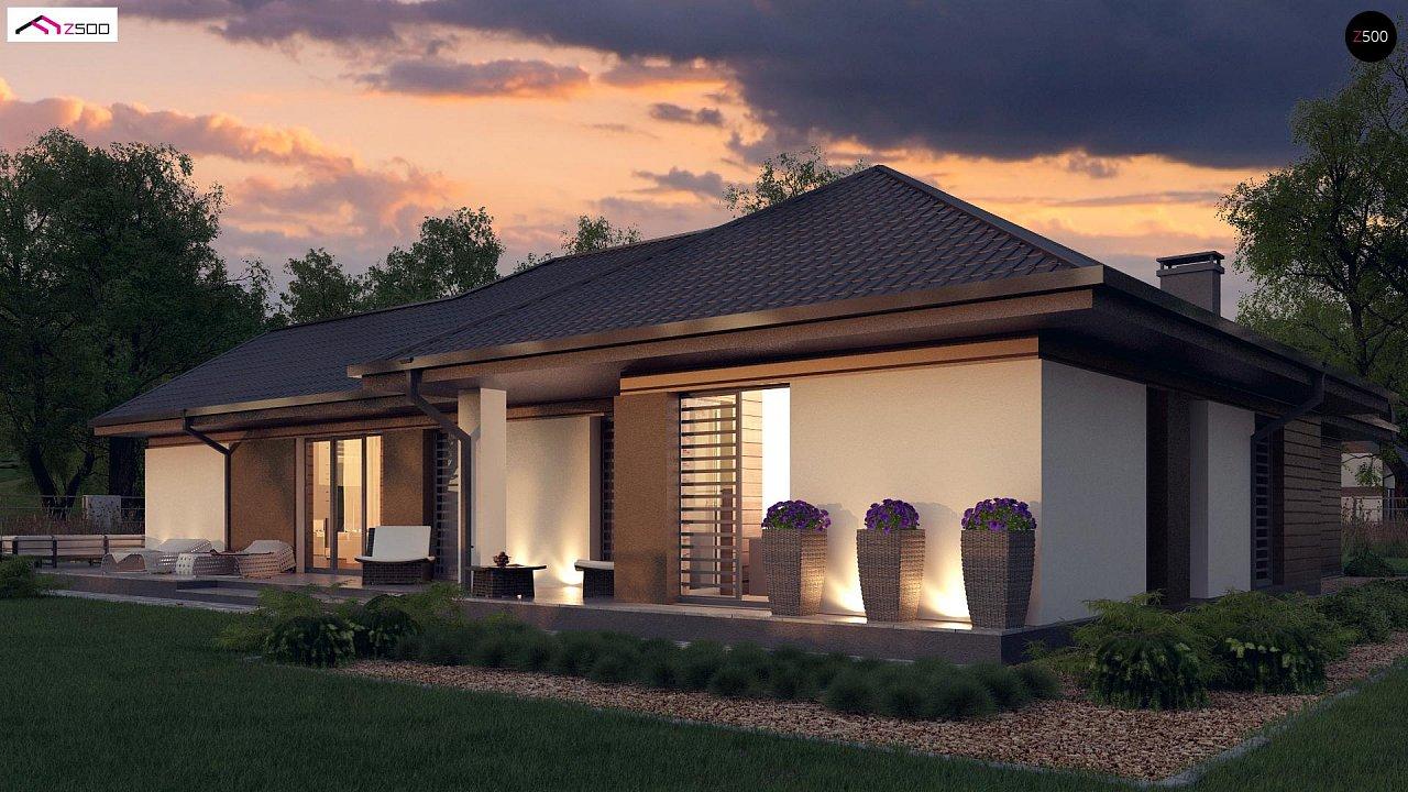 Стильный одноэтажный дом с панорамным остеклением в гостиной - фото 6