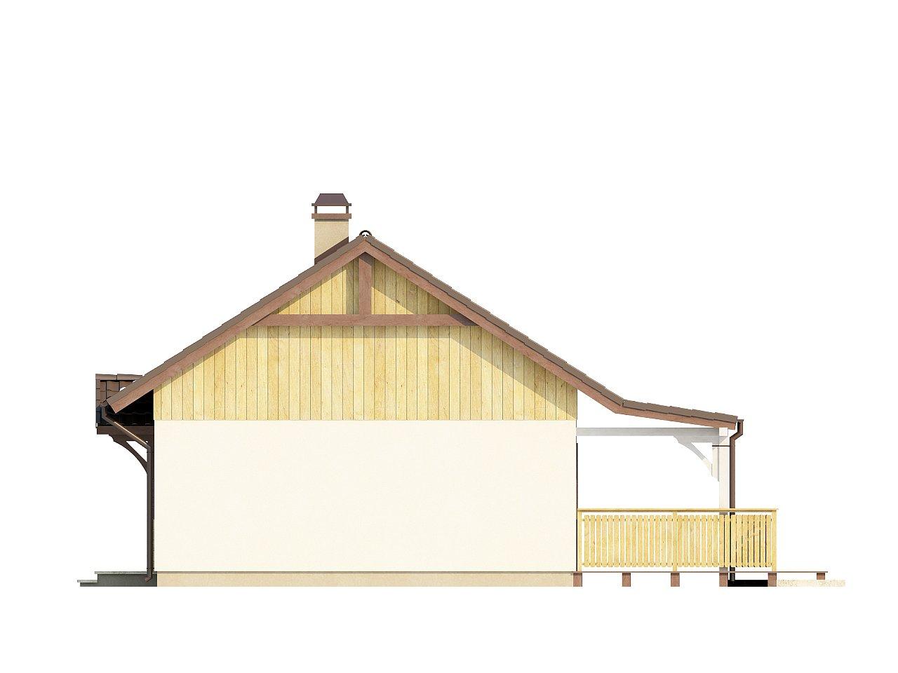Выгодный в строительстве и эксплуатации маленький одноэтажный дом с крытой террасой. 14