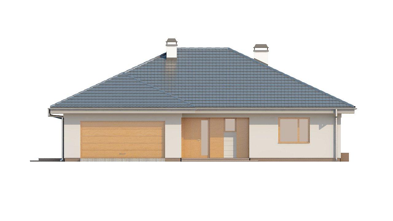 Практичный одноэтажный дом с гаражом для двух автомобилей и большим хозяйственным помещением. 21