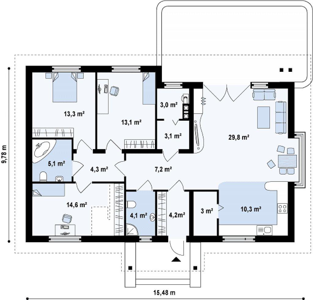 Проект традиционного дома с возможностью адаптации чердачного помещения. план помещений 1