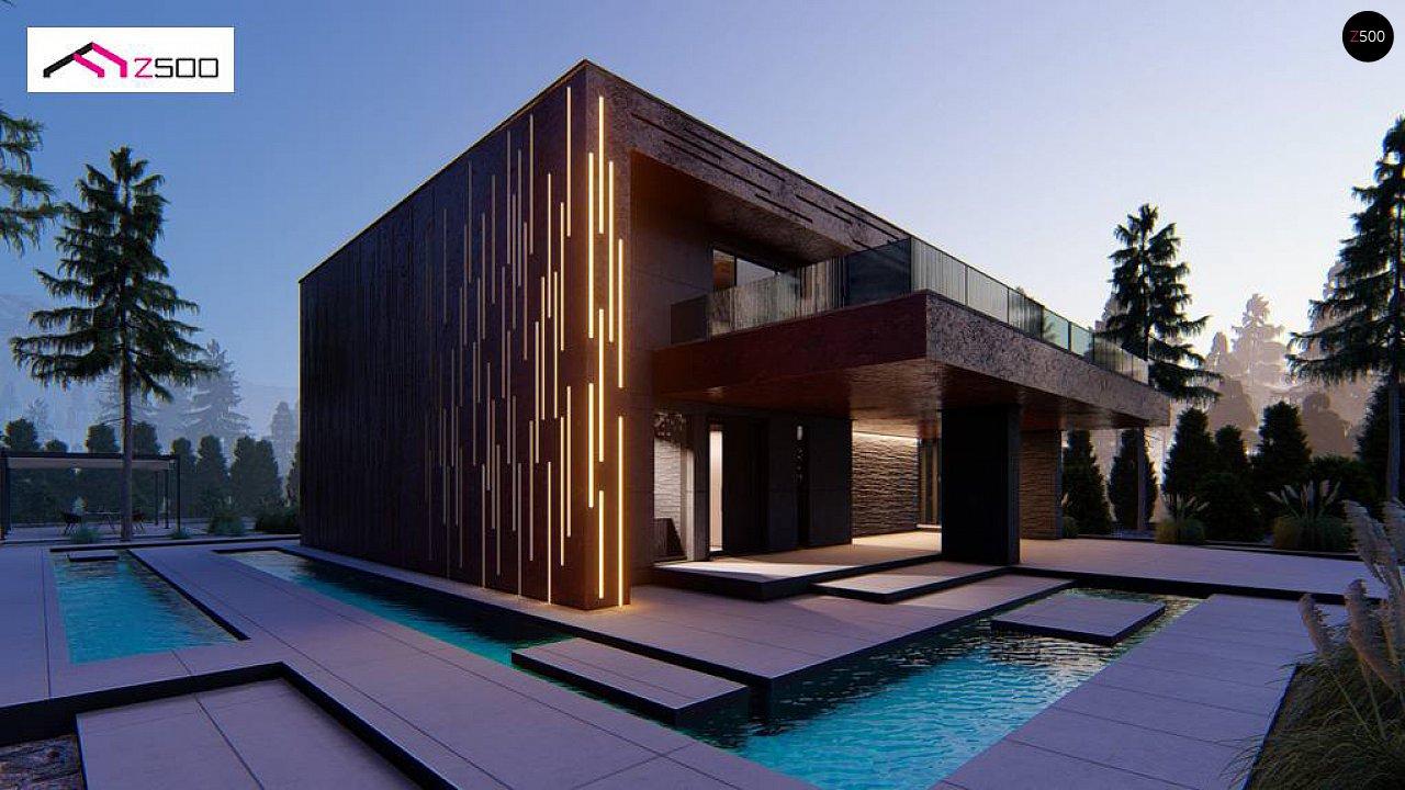 Современный двухэтажный дом с плоской кровлей и навесом для автомобиля - фото 1