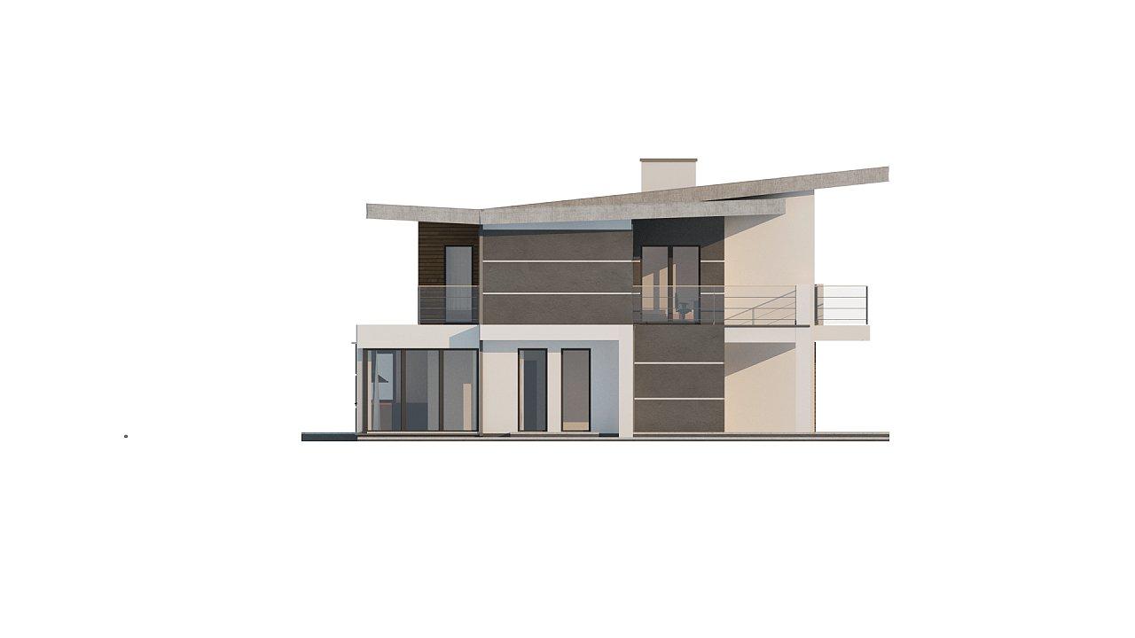 Современный двухэтажный дом с гаражом и террасой, спальней на первом этаже и ванной комнатой 24