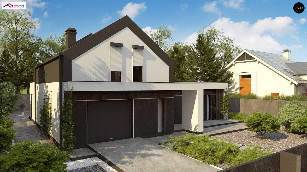 Проект дома с мансардой в европейском стиле с гаражом на одно авто. - фото 5