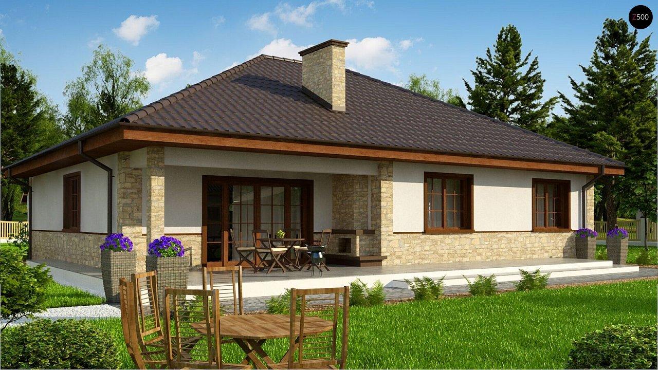 Одноэтажный дом с 4-х скатной кровлей и уютной террасой. - фото 3