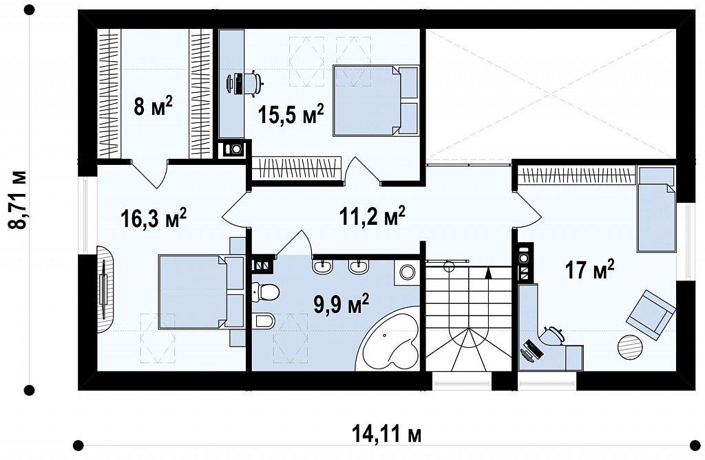 Дом со встроенным гаражом, красивым мансардным окном и вторым светом над гостиной. план помещений 2