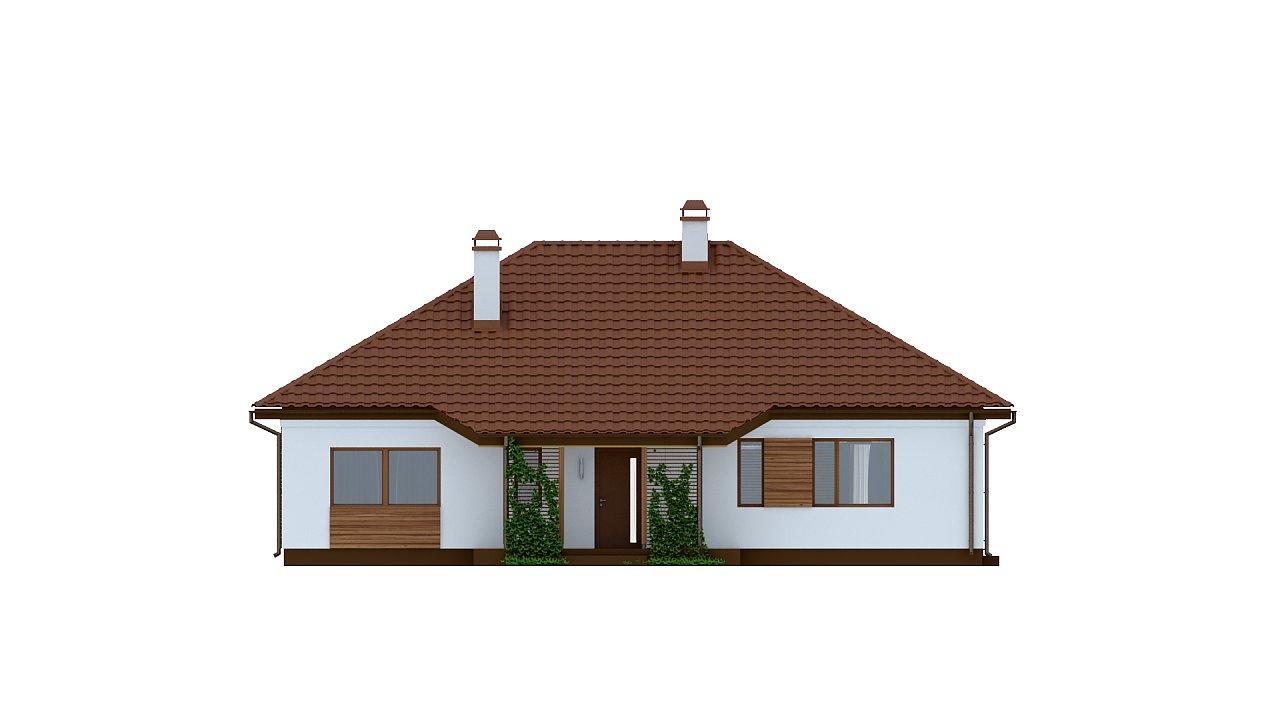 Традиционный одноэтажный дом с крытой террасой и оранжереей. 3