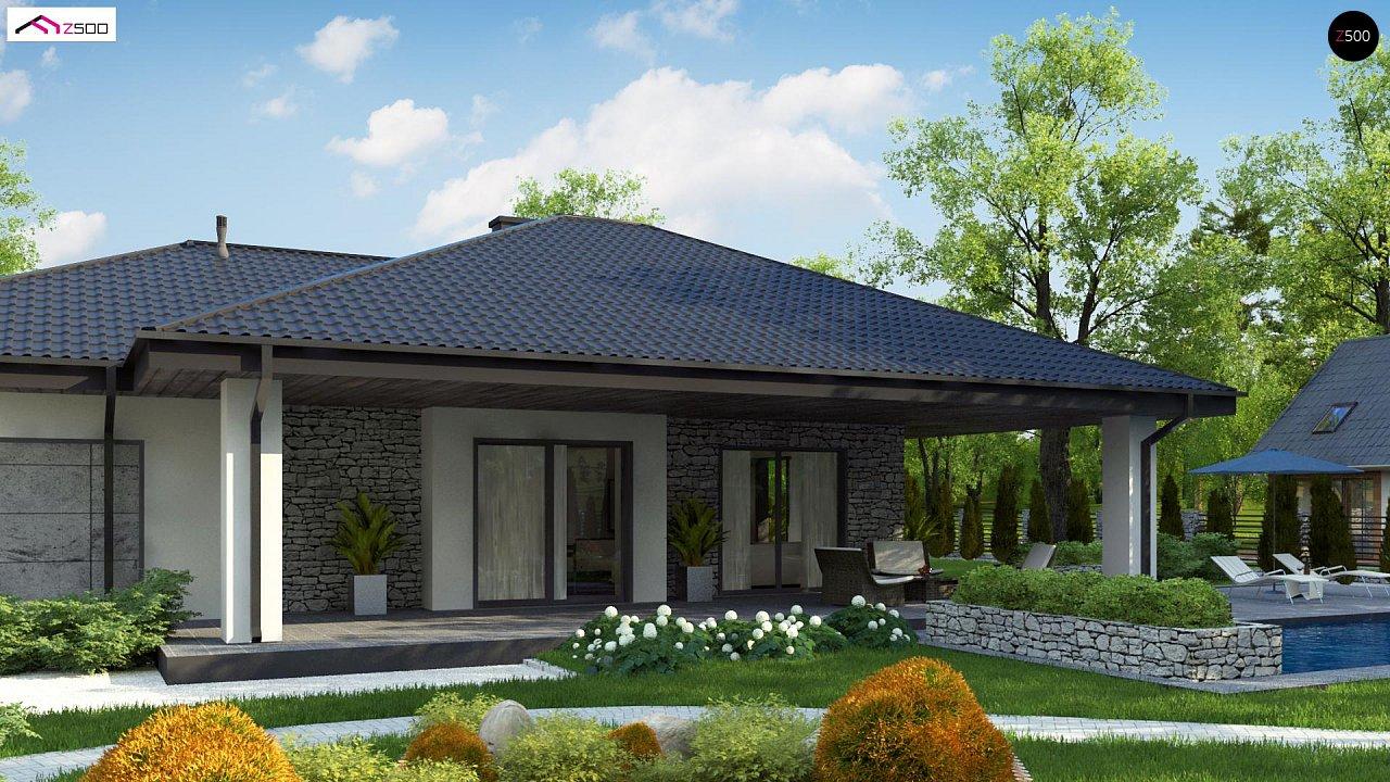 Одноэтажный дом с каменной облицовкой фасадов 1