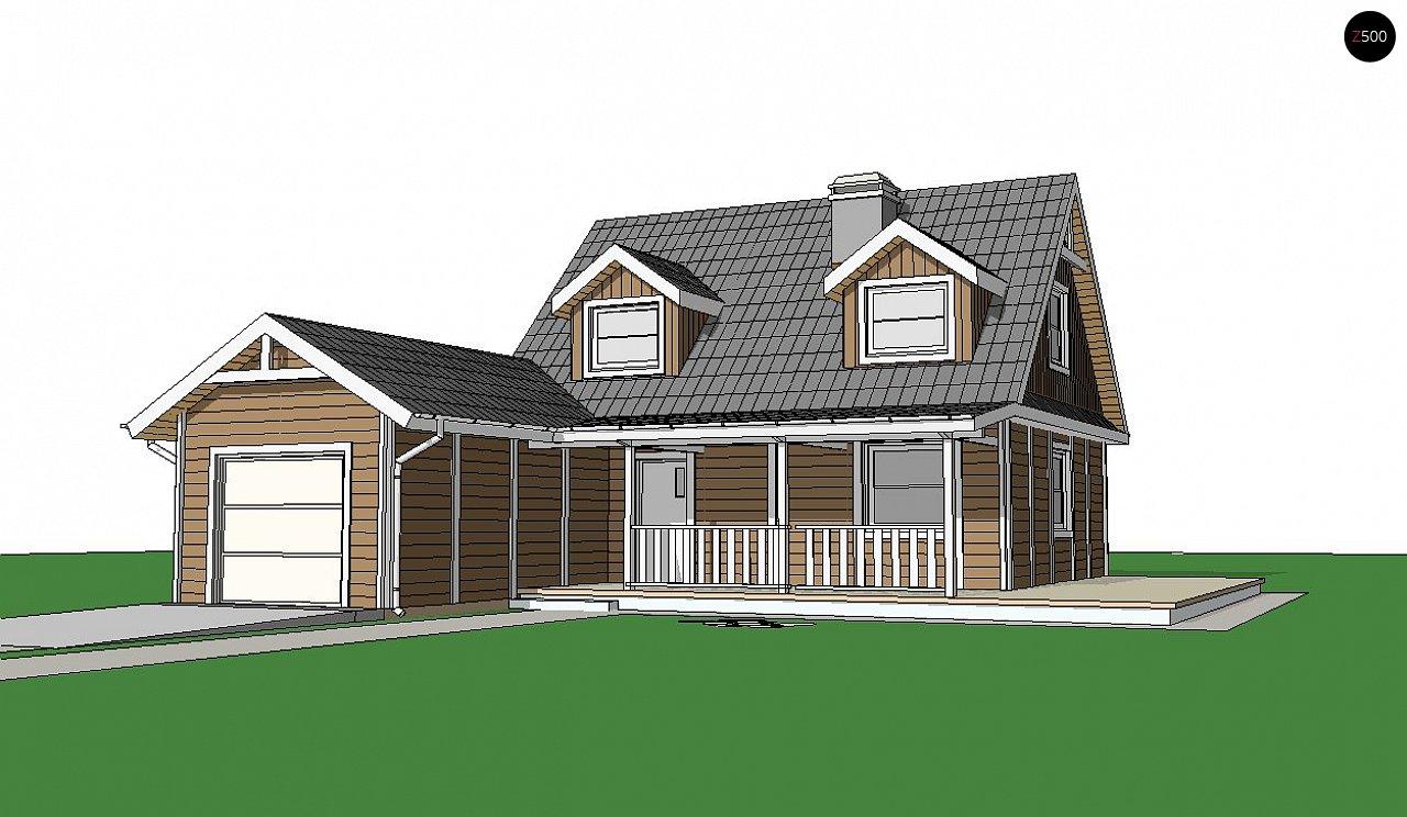Вариант проекта Z39 c деревянными фасадами и гаражом расположенным с левой стороны. 3