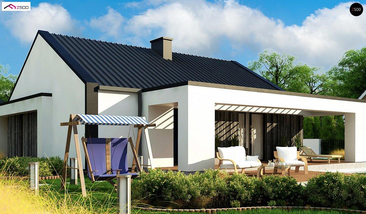 Компактный одноэтажный дом с двускатной крышей и 3 спальнями 4