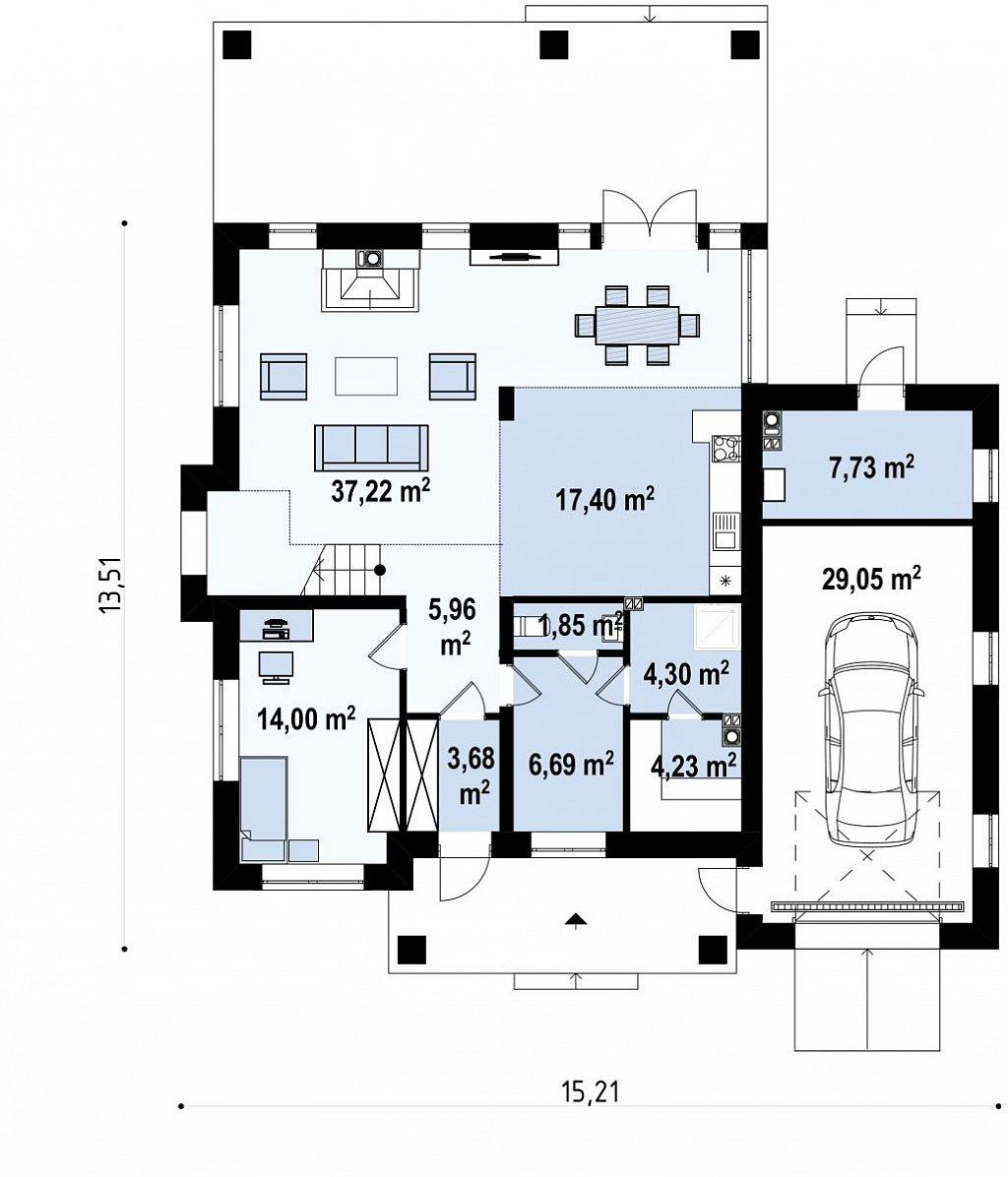 Проект двухуровневого просторного дома с гаражом на одно авто. план помещений 1