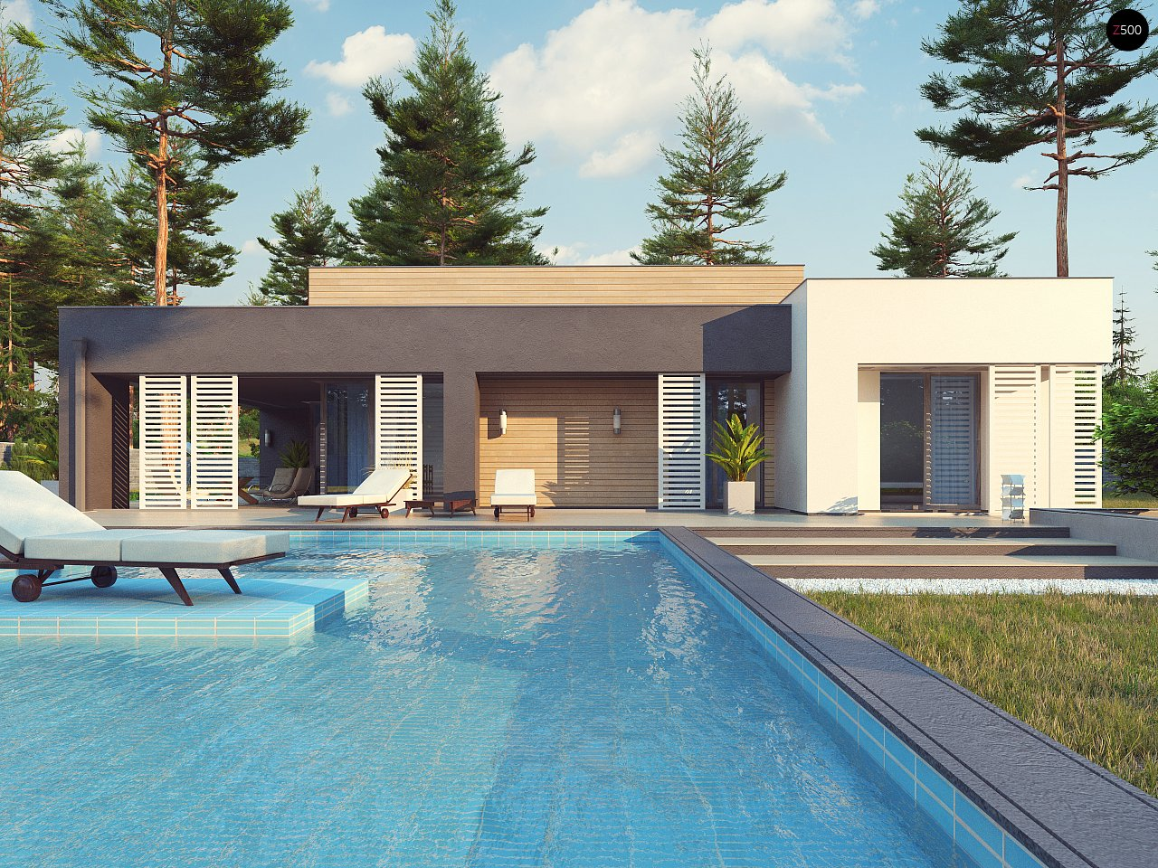 Одноэтажный дом в стиле хай-тек с плоской кровлей и большой площадью остекления. 8