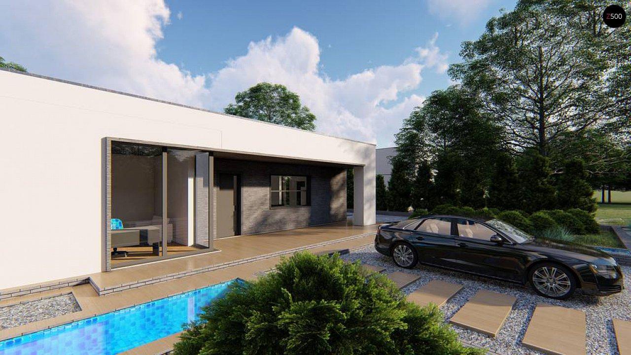 Одноэтажный современный дом с плоской крышей и белым фасадом 3