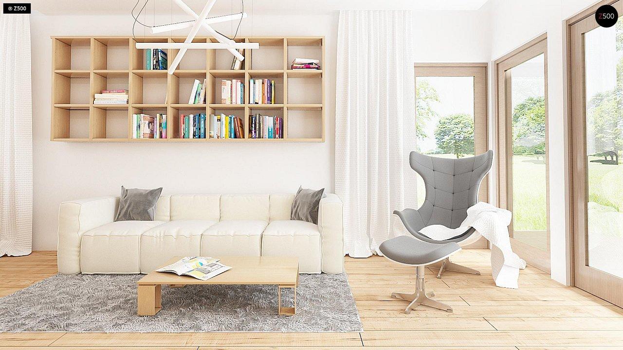 Проект одноэтажного дома с фронтальным выступающим гаражом и возможностью обустройства мансарды. 3