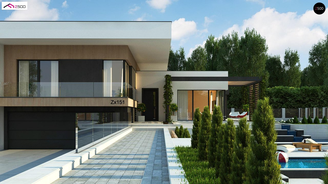 Проект современного двухэтажного дома с большой площадью. остекления. - фото 3