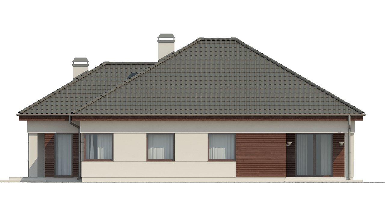 Просторный одноэтажный дом с многоскатной крышей, угловым окном и угловой террасой в дневной зоне. 22