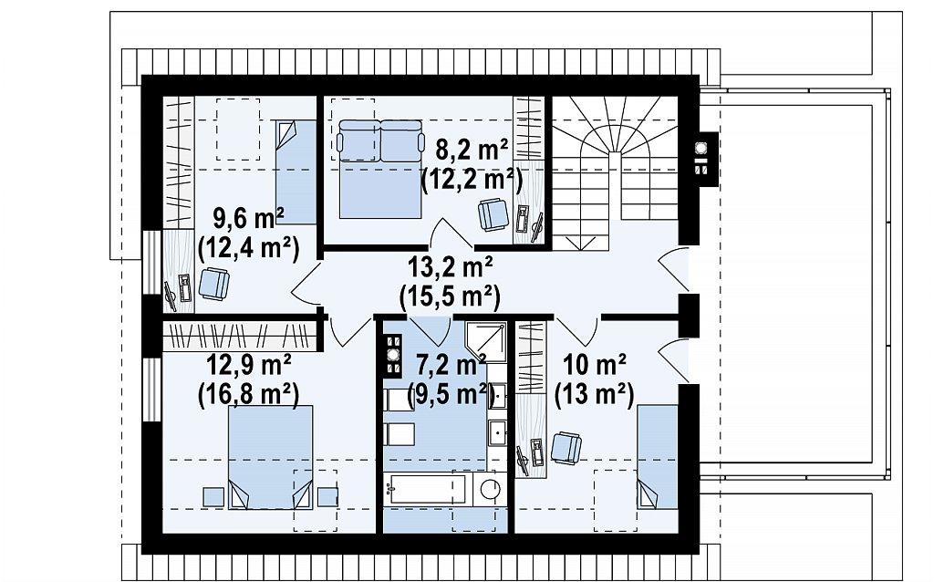 Проект комфортного дома в современном европейском стиле. план помещений 2