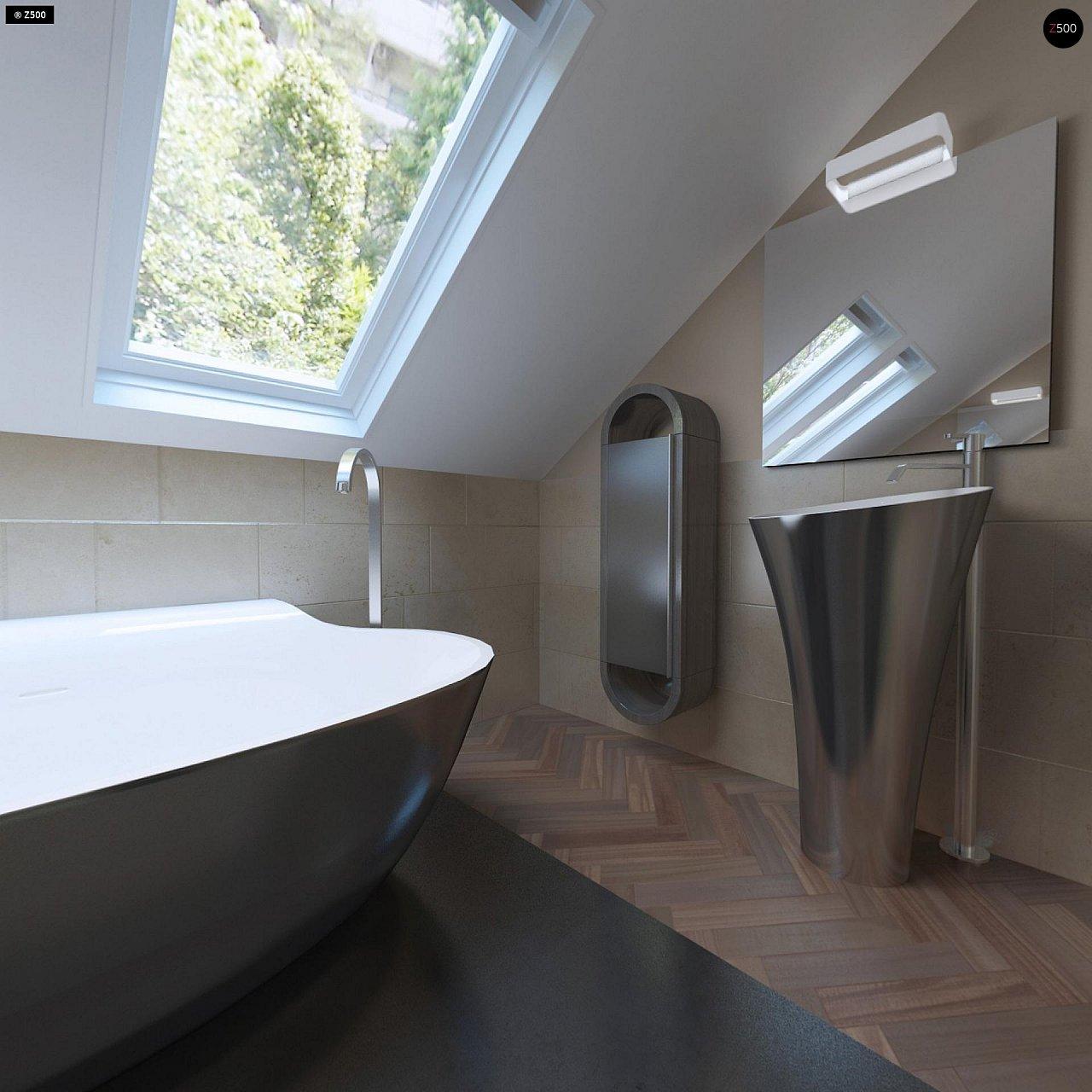 Аккуратный дом простой традиционной формы с гаражом и дополнительной спальней на первом этаже. 16