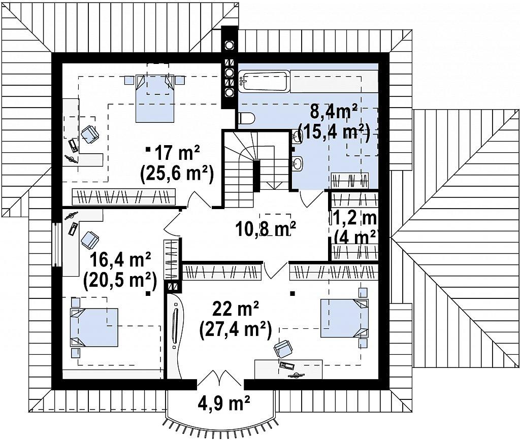 Удобный дом в классическом стиле с красивыми мансардными окнами и балконом. план помещений 2
