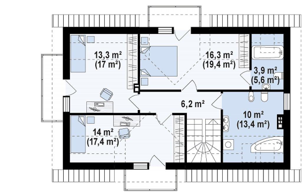 Проект функционального уютного дома с мансардными окнами и оригинальной отделкой фасадов. план помещений 2
