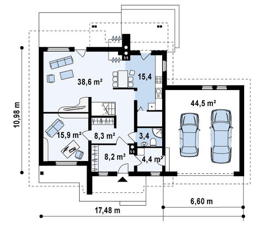 Проект комфортного дома с большим гаражом и дополнительной спальней на первом этаже. план помещений 1